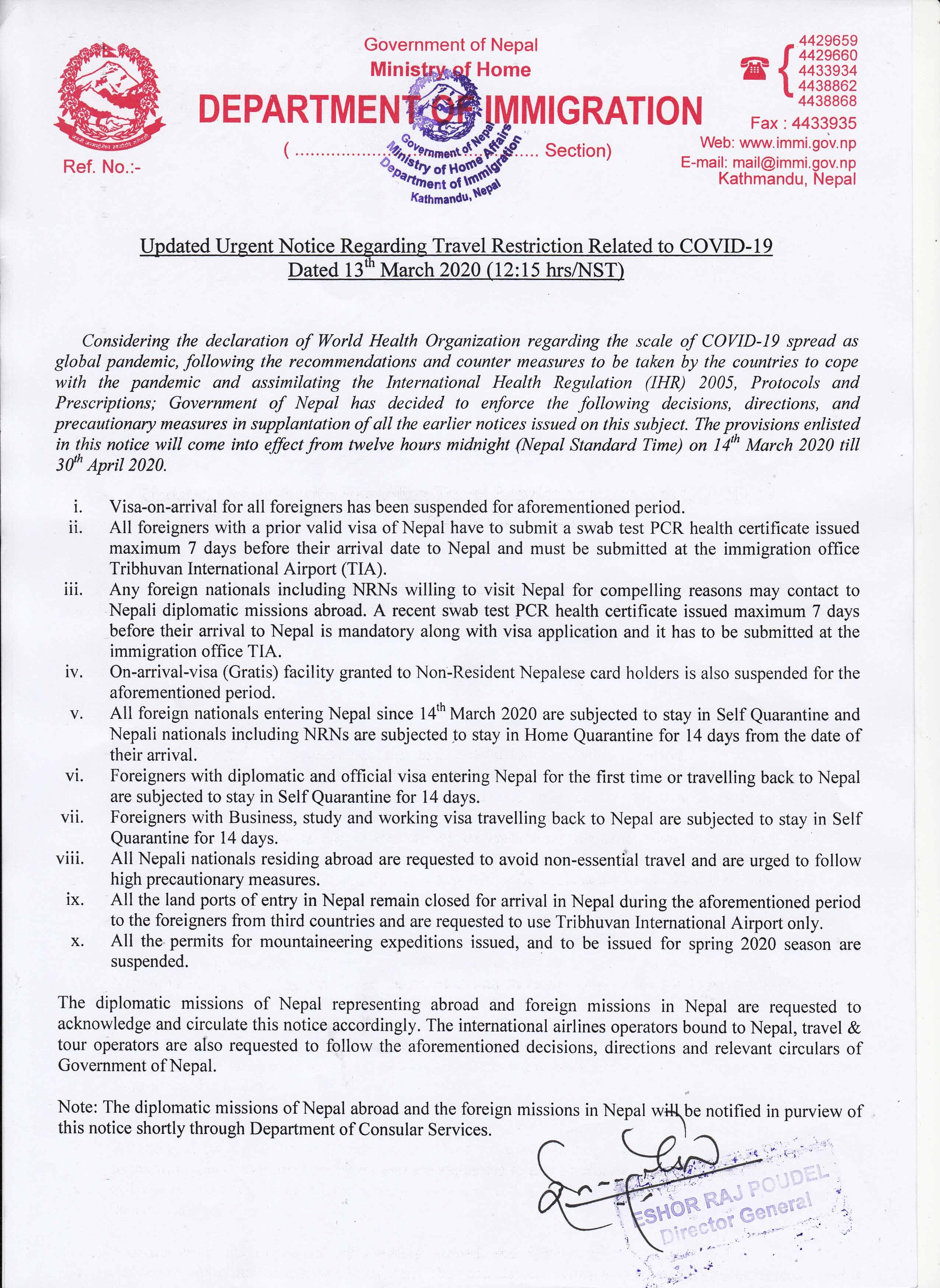 coronavirus update form Nepal government
