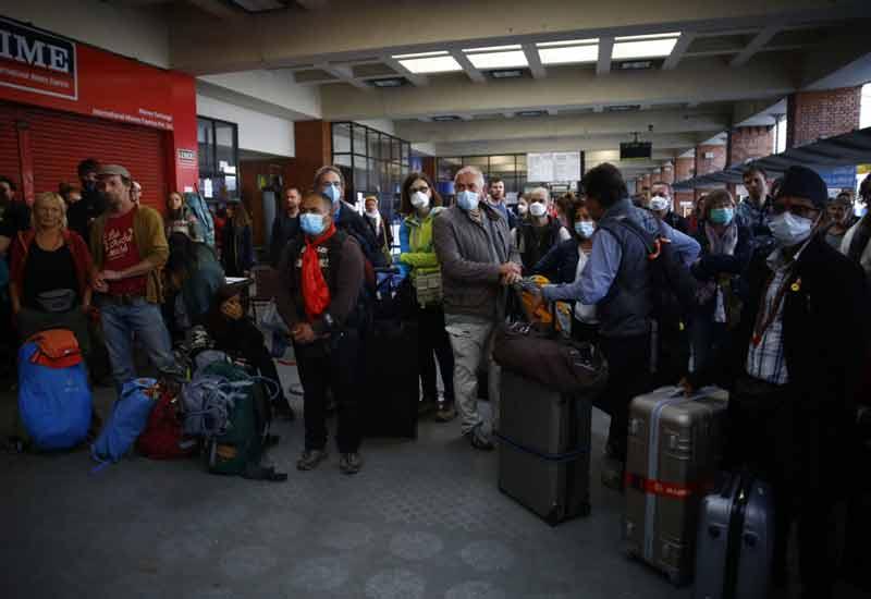 german tourist waiting for flight in Kathmandu