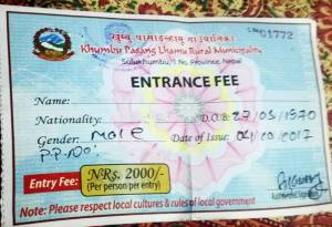 new entry fee of everest trek by khumbu rural municipality