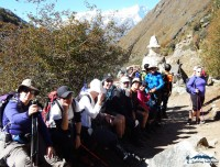 catching breath on short everest base camp trekking trail