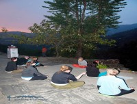 Evening class of yoga trek in Nepal