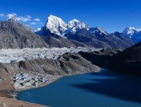Gokyo Village, Gokyo Lake and Ngozumba Glacier from Gokyo Ri