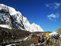 trekking trail near larkya la pass of manaslu