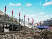 maoiast flag in rolpa village guerrilla trekking nepal