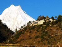 mt manaslu with monastery of manaslu trekking