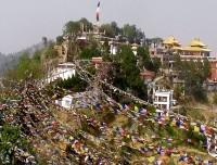 namobuddha prayer flag with monastery