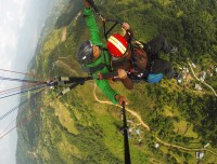 paragliding aerial green view