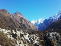stunning view of himalayas from langtang valley trekking