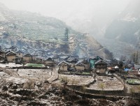 thabang village in winter of guerrilla trekking nepal