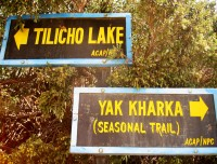 Tilicho Lake and Throng-La Trekking Trail Sign