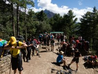 Trekkers Resting on Trail of Everest Base Camp Trek