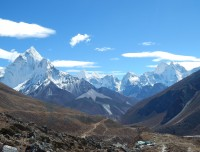 view from thukla pass of short everest base camp trek