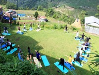 yoga in the morning trekking trail nepal